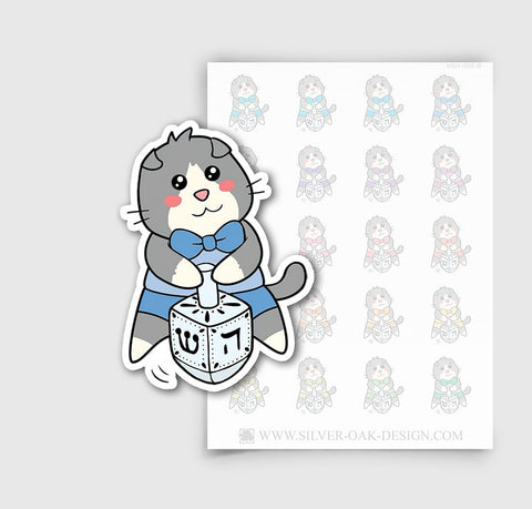 MSH-008-B | Hanukkah Chanukah Dreidel / Moosh the Scottish Fold Cat Planner Stickers / 5.07