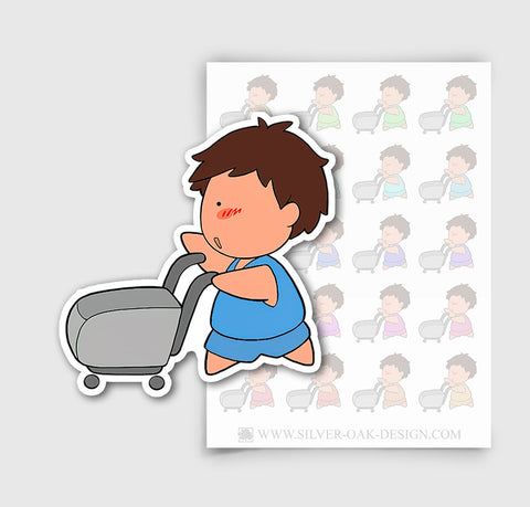 NOA-001-A | Noah Grocery Shopping Custom Boy Character Planner Stickers