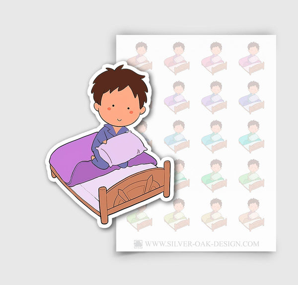 NOA-001-C | Noah Making the Bed / Changing Linens Custom Boy Character Planner Stickers
