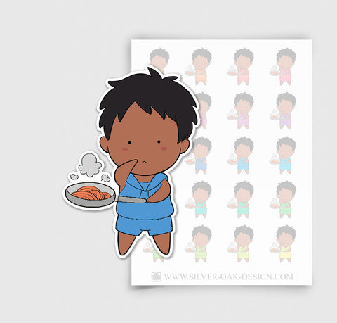 NOA-001-D | Noah Cooking Dinner Custom Boy Character Planner Stickers