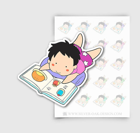 NOA-002-B | Noah Reading a Book Custom Boy Character Planner Stickers