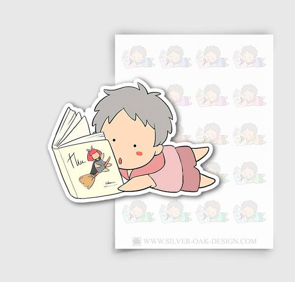 NOA-002-D | Noah Reading a Book Custom Boy Character Planner Stickers