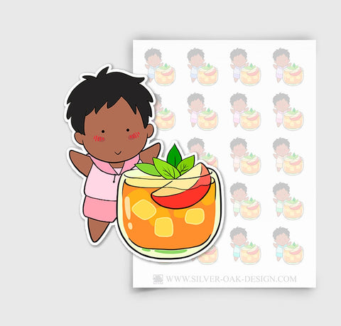 NOA-004-A | Noah with Drink Custom Boy Character Planner Stickers / 5.14