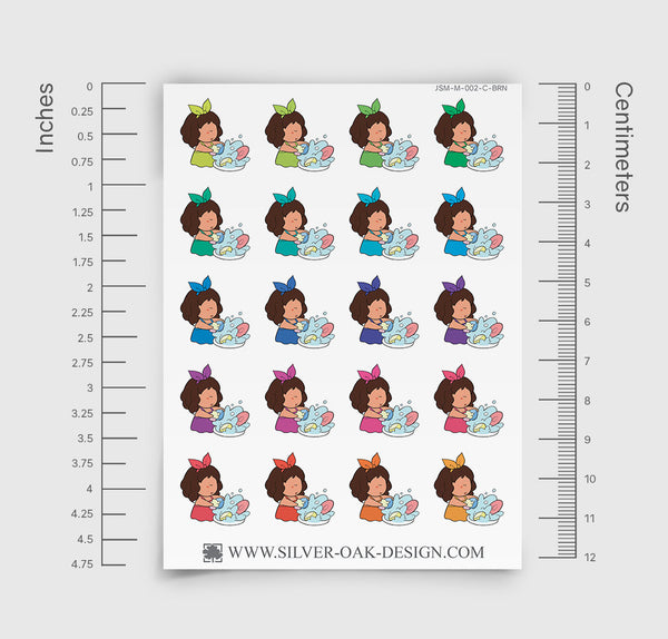 JSM-002-C | Jasmine Washing Dishes Custom Character Planner Stickers
