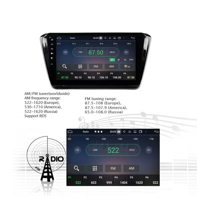 Android 10.0 1 Din 10.1 Inch 1024x600 Touchscreen Autoradio Headunit for Skoda Superb 2015 2016 2017 2018 2019 2020, Octa Core 1.5GB CPU 32GB Flash 4GB DDR3 RAM, Car Stereo GPS Navigation 3G 4G WIFI Bluetooth USB DSP Carplay&Auto Steering Wheel Control. 1Din Vehicle Touch Screen Multimedia Video Player System Head Unit.