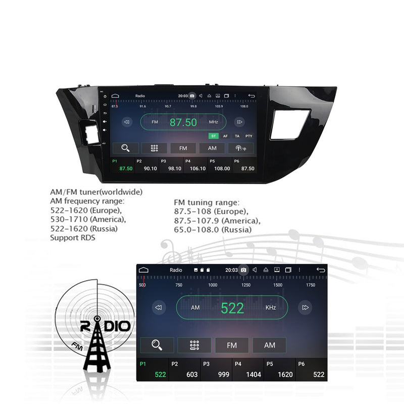 Android 10 Double Din 10.1 Inch Touchscreen Autoradio Headunit for Toyota Levin 2013 2014 2015 left hand driving, Octa Core 1.5GB CPU 32GB Flash 4GB DDR3 RAM, Auto Radio GPS Navigation 3G 4G WIFI Bluetooth USB DSP Carplay&Auto Steering Wheel Control. 2Din Vehicle Touch Screen Multimedia Video Player System Head Unit.