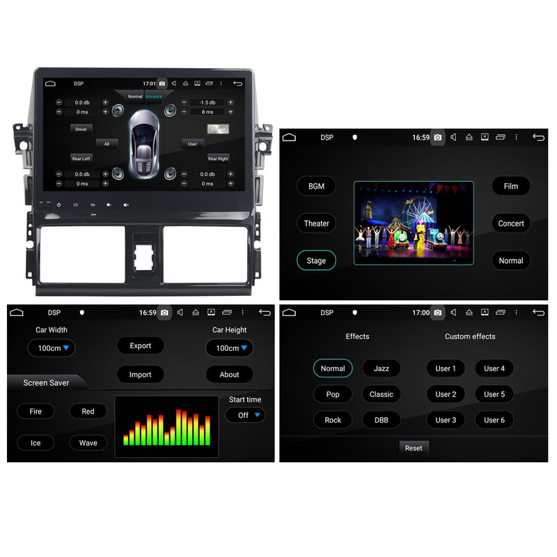 Android 10.0 Double Din 10.1 Inch Touchscreen Autoradio Headunit for Toyota Vios/Yaris 2014 2015 2016 2017 2018, Octa Core 1.5GB CPU 32GB Flash 4GB DDR3 RAM, Auto Radio GPS Navigation 3G 4G WIFI Bluetooth USB DSP Carplay&Auto Steering Wheel Control. 2Din Vehicle Touch Screen Multimedia Video Player System Head Unit.
