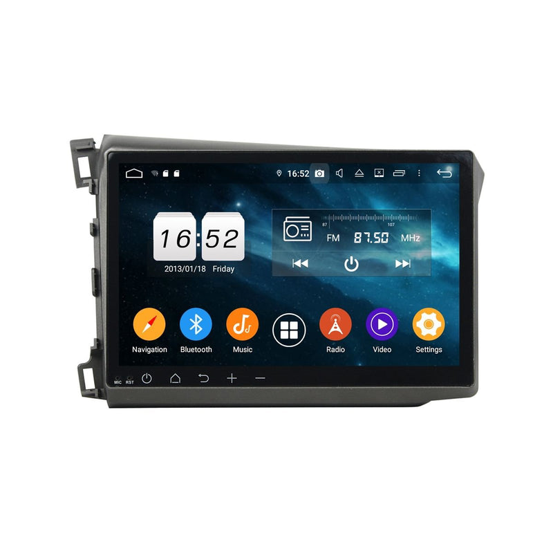 10.1 Inch Touchscreen Car Radio for Honda Civic(2012-2015) LHD, 4GB RAM+32GB ROM, Android 9.0 DSP GPS Navigation Stereo Bluetooth 4G WIFI - foyotech