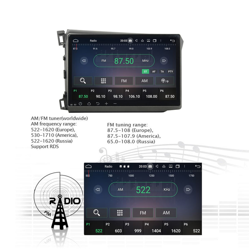 Android 10 1 Din 10.1 Inch 1024x600 Touchscreen Autoradio Headunit for Honda Civic 2012 2013 2014 2015 left hand driving, Octa Core 1.5GB CPU 32GB Flash 4GB DDR3 RAM, Auto Radio GPS Navigation 3G 4G WIFI Bluetooth USB DSP Carplay&Auto Steering Wheel Control. 1Din Vehicle Touch Screen Multimedia Video Player System Head Unit.
