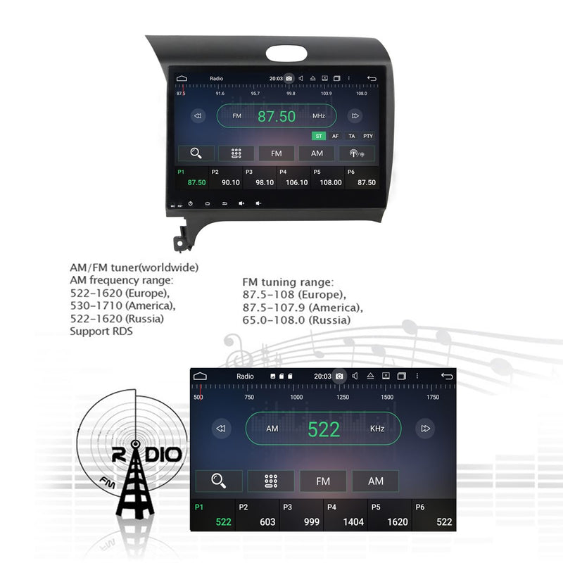 Android 10 Double Din 10.1 Inch Touchscreen Autoradio Headunit for Kia Cerato/K3/Forte/Spectra 2013 2014 2015 2016, Octa Core 1.5GB CPU 32GB Flash 4GB DDR3 RAM, Auto Radio GPS Navigation 4G WIFI Bluetooth USB  DSP Carplay&Auto Steering Wheel Control. 2Din Vehicle Touch Screen Multimedia Video Player System Head Unit.