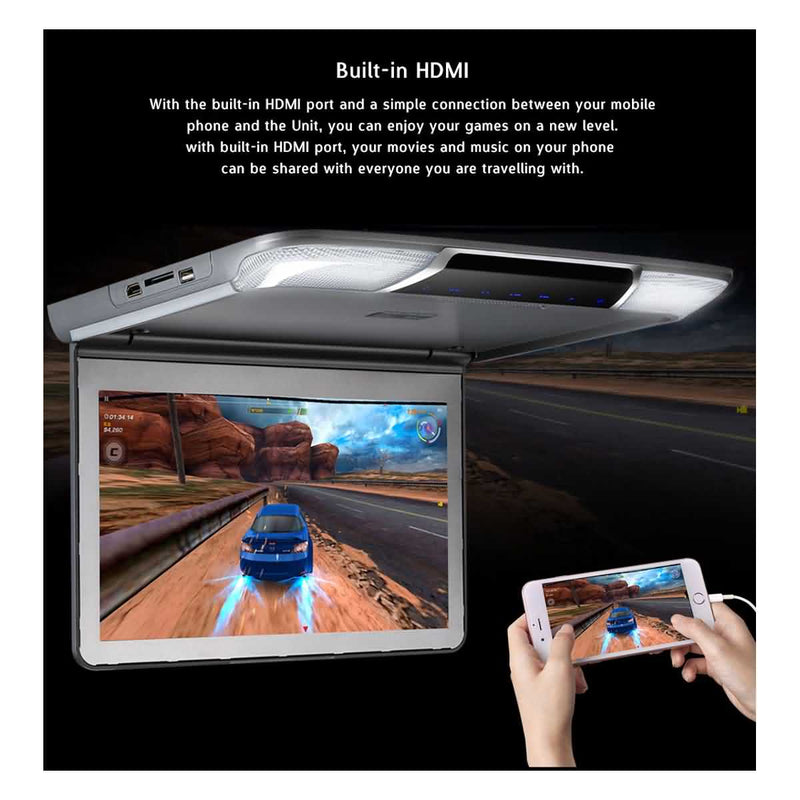 11.6 inch HDMI input Car Overhead Monitor, 1366x768 Flip down Digital TFT LCD Screen MP5 Player, Auto Roof mount Multimedia Player System - foyotech