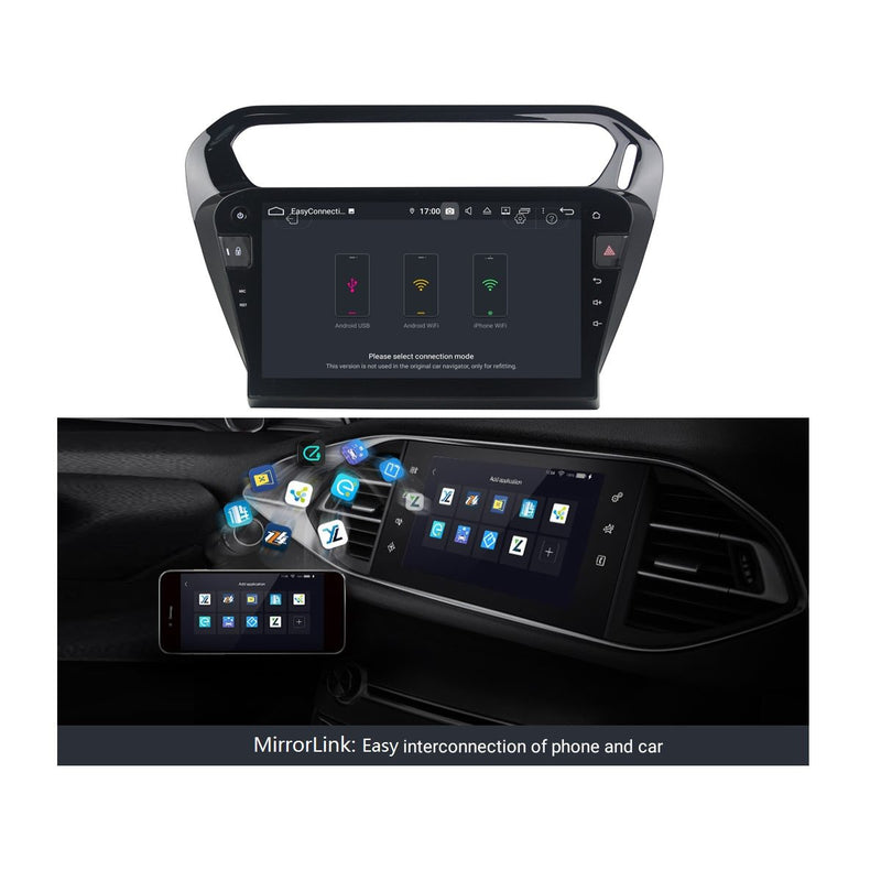 (Black) DSP 10.1 Inch Touchscreen Android 9.0 Car Radio Headunit for Peugeot 301(2013-2020), 4GB RAM+32GB ROM, Auto GPS Navigation Stereo Bluetooth 4G WIFI - foyotech