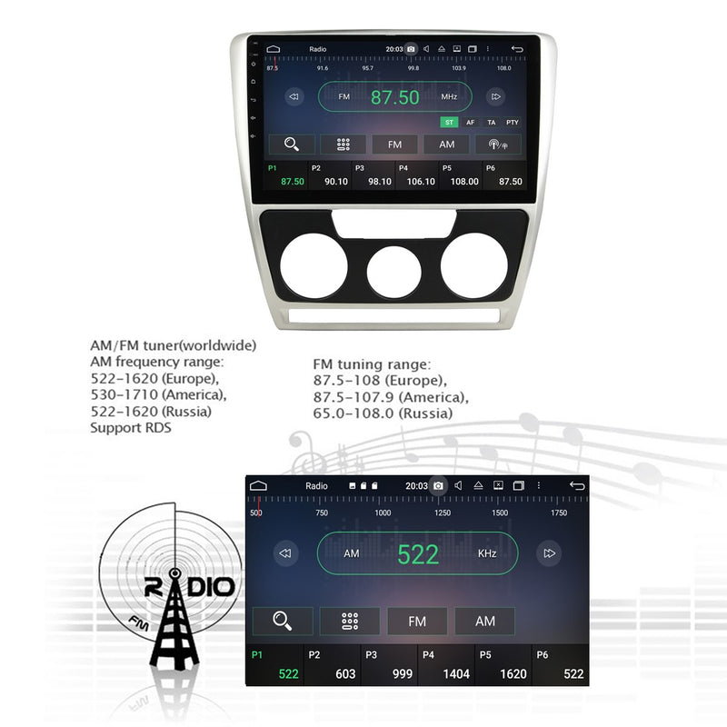 Android 10 1 Din 10.1 Inch 1024x600 Touchscreen Autoradio Headunit for Skoda Octavia 2007 2008 2009, Octa Core 1.5GB CPU 32GB Flash 4GB DDR3 RAM, Car Stereo GPS Navigation 3G 4G WIFI Bluetooth USB DSP Carplay&Auto Steering Wheel Control. 1Din Vehicle Touch Screen Multimedia Video Player System Head Unit.