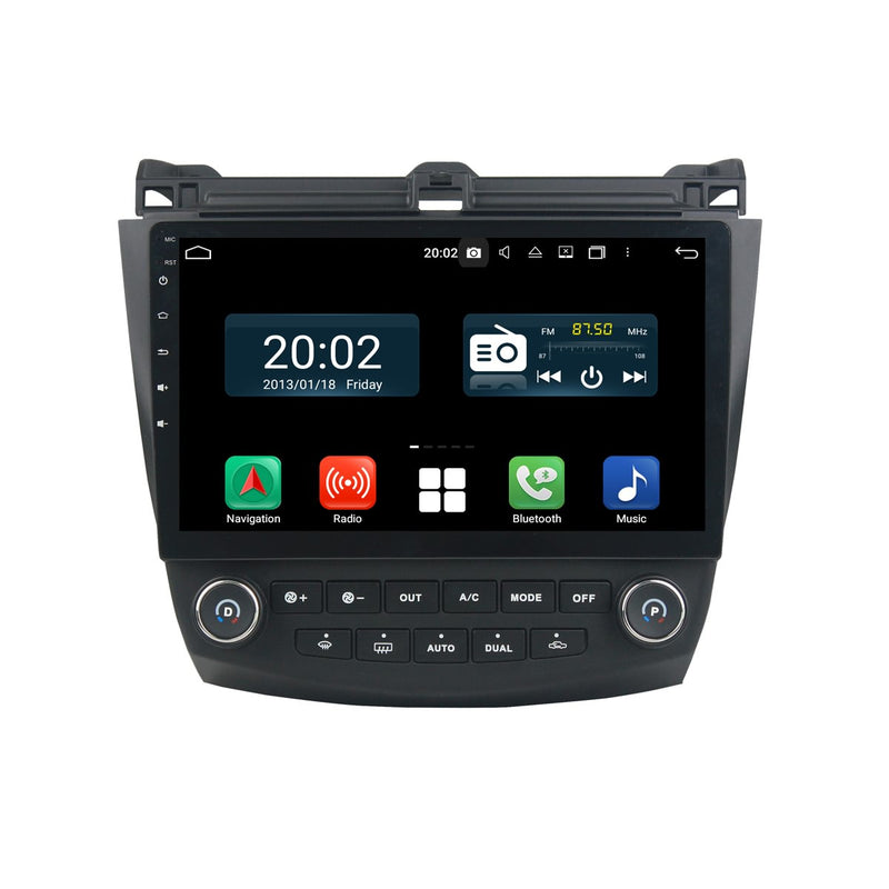 Android 10.0 1 Din 10.1 Inch 1024x600 Touchscreen Autoradio Headunit for Honda Accord 7 gen 2003 2004 2005 2006 2007, Octa Core 1.5GB CPU 32GB Flash 4GB DDR3 RAM, Auto Radio GPS Navigation 3G 4G WIFI Bluetooth USB DSP Carplay&Auto Steering Wheel Control. 1Din Vehicle Touch Screen Multimedia Video Player System Head Unit.