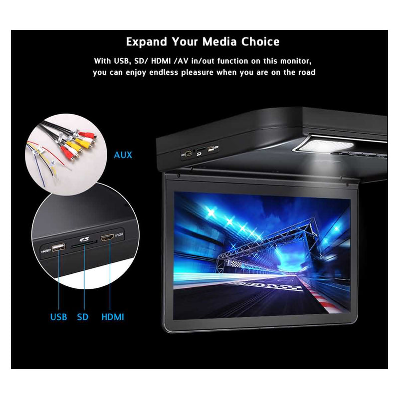 13.3 inch Car Overhead DVD Player, HDMI input, 1920x1080 Digital TFT LCD Screen Vehicle Flip down Monitor, Auto Roof mount Multimedia Player System - foyotech