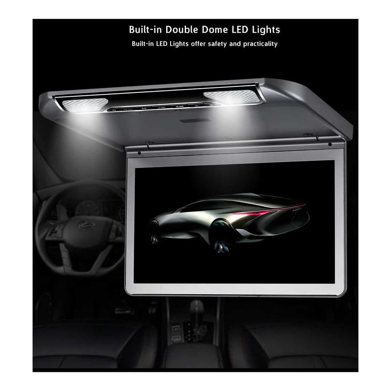 13.3 inch Car Overhead Monitor with HDMI input, Vehicle Flip down 1920x1080 Digital TFT LCD Screen MP5 Player, Roof mount Multimedia Player System - foyotech