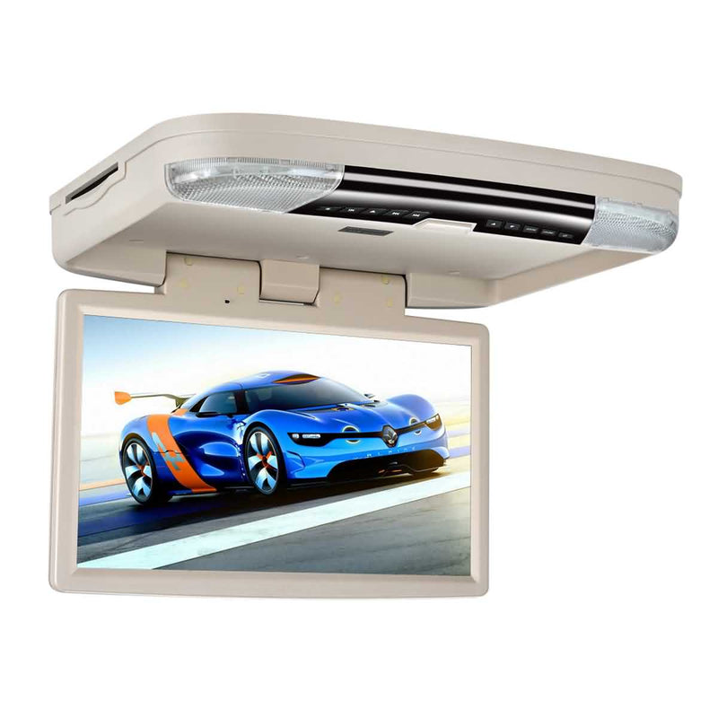 15.6 inch Car Overhead Flip down DVD Player Monitor, HDMI input, 1366x768 Digital TFT LCD Screen, Auto Roof mount Multimedia Player System - foyotech