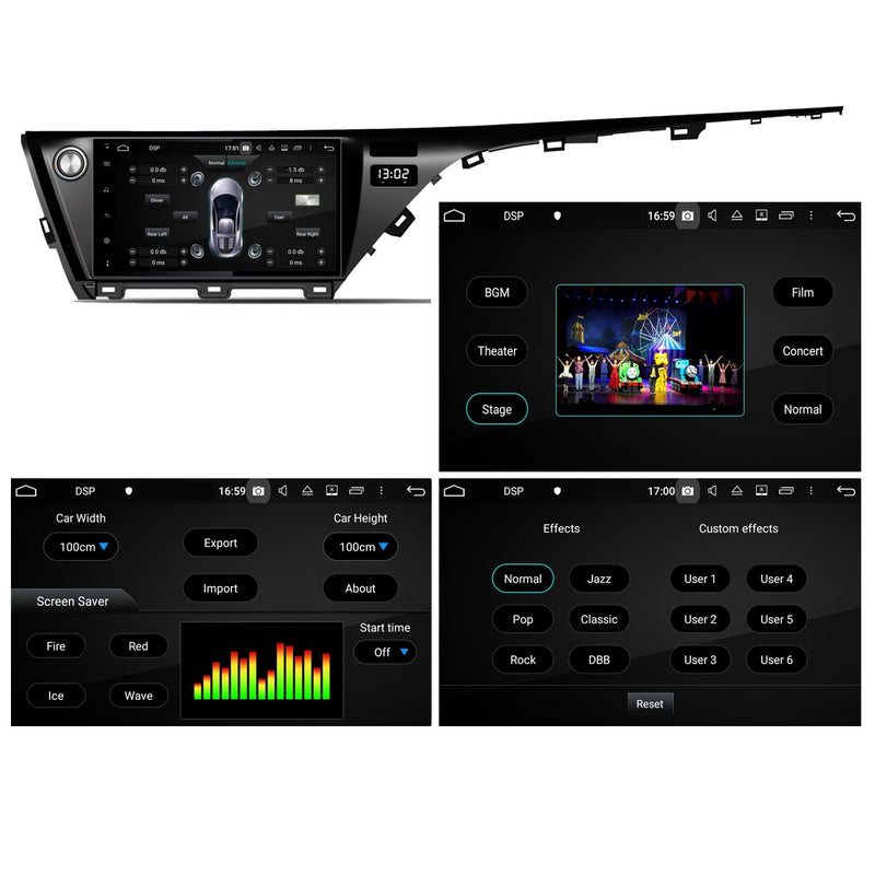 Android 10 1 Din 10.1 Inch 1024x600 Touchscreen Autoradio Headunit for Toyota Camry/Aurion 2018 2019 2020, Octa Core 1.5GB CPU 32GB Flash 4GB DDR3 RAM, Auto Radio GPS Navigation 3G 4G WIFI Bluetooth USB DSP Carplay&Auto Steering Wheel Control. 1Din Vehicle Touch Screen Multimedia Video Player System Head Unit.