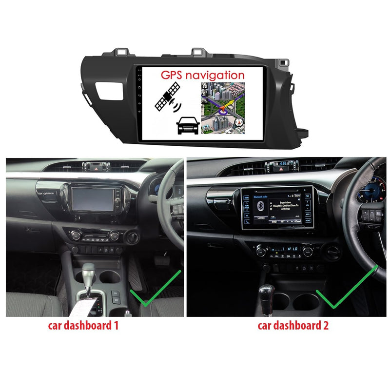 Android 10.0 1 Din 10.1 Inch Touchscreen Autoradio Headunit for Toyota Hilux 2016 2017 2018 2019 right hand driving, Octa Core 1.5GB CPU 32GB Flash 4GB DDR3 RAM, Auto Radio GPS Navigation 3G 4G WIFI Bluetooth USB DSP Carplay&Auto Steering Wheel Control. 1Din Vehicle Touch Screen Multimedia Video Player System Head Unit.