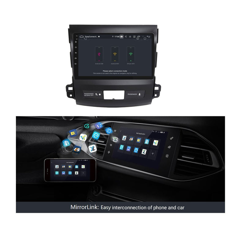 9 Inch Touchscreen Android 9.0 Auto GPS for Mitsubishi Outlander(2006-2013), 4GB RAM+32GB ROM, DSP Car Radio Stereo Bluetooth 4G WIFI - foyotech