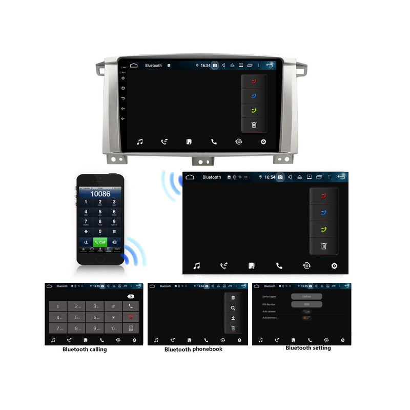 9 Inch Touchscreen Android 9.0 Car Radio for Toyota Land Cruiser 100(2005-2007), GPS Navigation DSP Stereo Bluetooth 4G WIFI Head Unit, 4GB RAM+32GB ROM - foyotech