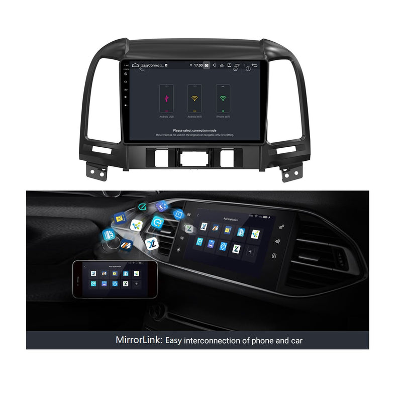 9 Inch Touchscreen Android 9.0 Autoradio for Hyundai Santa Fe(2006-2012), 4GB RAM+32GB ROM, GPS Navigation DSP Stereo Bluetooth 4G WIFI - foyotech