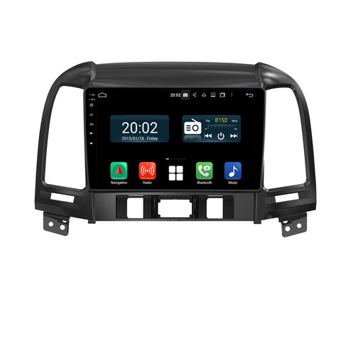 Android 10 Double Din 9 Inch 1024x600 Touchscreen Autoradio Headunit for Hyundai Santa Fe 2006 2007 2008 2009 2010 2011 2012, Octa Core 1.5GB CPU 32GB Flash 4GB DDR3 RAM, Auto Stereo GPS Navigation 3G 4G WIFI Bluetooth USB DSP Carplay&Auto Steering Wheel Control. 2Din Vehicle Touch Screen Multimedia Video Player System Head Unit.