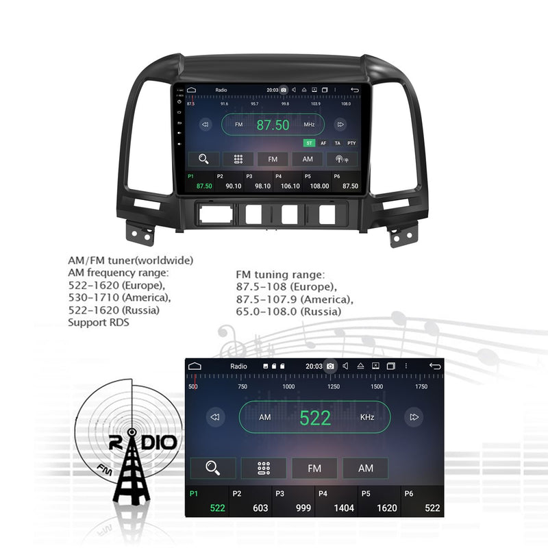 Android 10 Double Din 9 Inch 1024x600 Touchscreen Autoradio Headunit for Hyundai Santa Fe 2006 2007 2008 2009 2010 2011 2012, Octa Core 1.5GB CPU 32GB Flash 4GB DDR3 RAM, Auto Radio GPS Navigation 3G 4G WIFI Bluetooth USB DSP Carplay&Auto Steering Wheel Control. 2Din Vehicle Touch Screen Multimedia Video Player System Head Unit.
