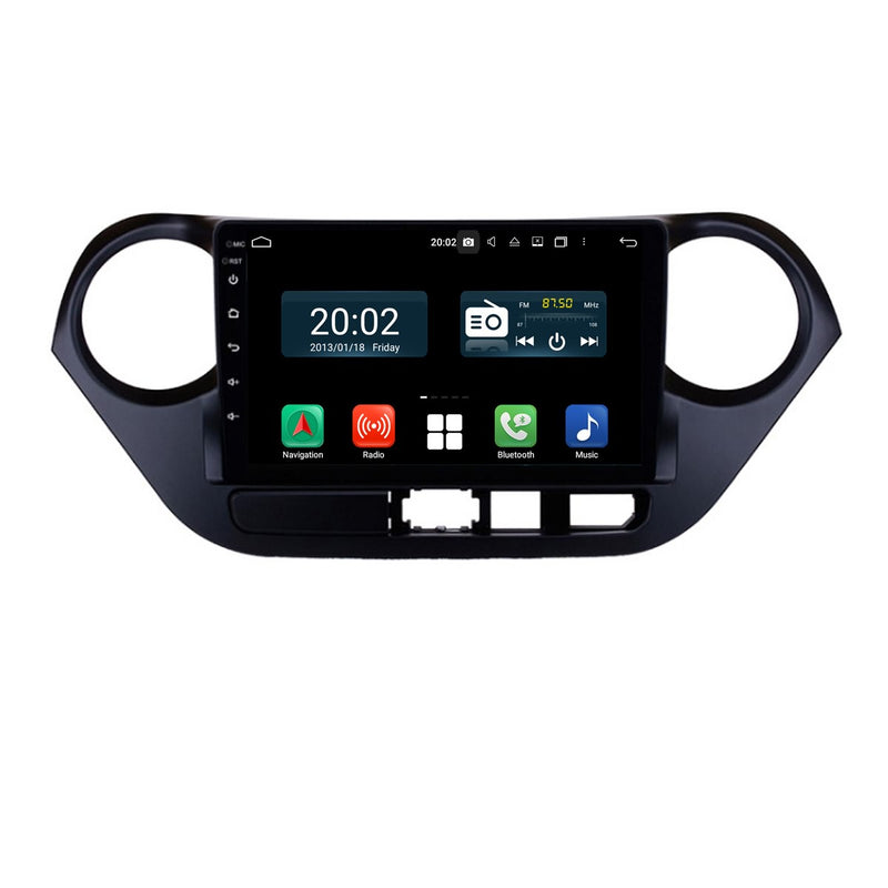 Android 10 Double Din 9 Inch 1024x600 Touchscreen Autoradio Headunit for Hyundai I10 2014 2015 2016 2017 2018 2019 2020 left hand driving, Octa Core 1.5GB CPU 32GB Flash 4GB DDR3 RAM, Auto Radio GPS Navigation 3G 4G WIFI Bluetooth USB DSP Carplay&Auto Steering Wheel Control. 2Din Vehicle Touch Screen Multimedia Video Player System Head Unit.