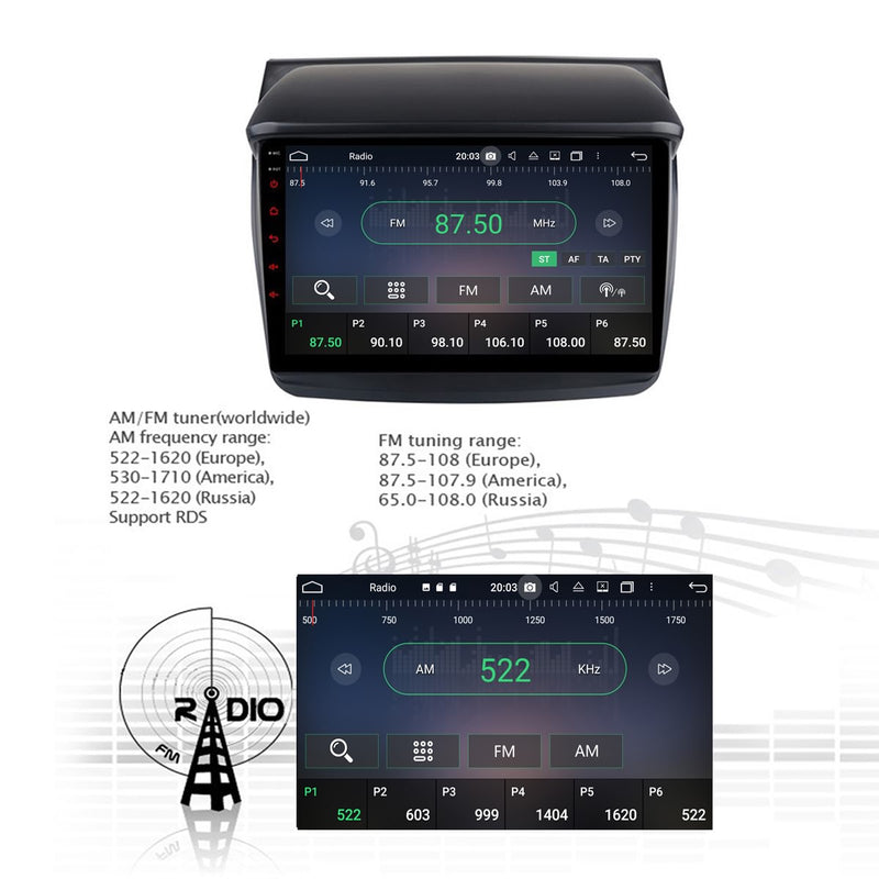 Android 10 Single Din 9 Inch Autoradio Headunit for Mitsubishi Triton L200 2007 2008 2009 2010 2011 2012 2013 2014, Octa Core 1.5GB CPU 32GB Flash 4GB DDR3 RAM, Auto Stereo GPS Navigation 3G 4G WIFI Bluetooth USB DSP Carplay&Auto Steering Wheel Control. 1 Din Vehicle Touch Screen Multimedia Video Player System Head Unit.