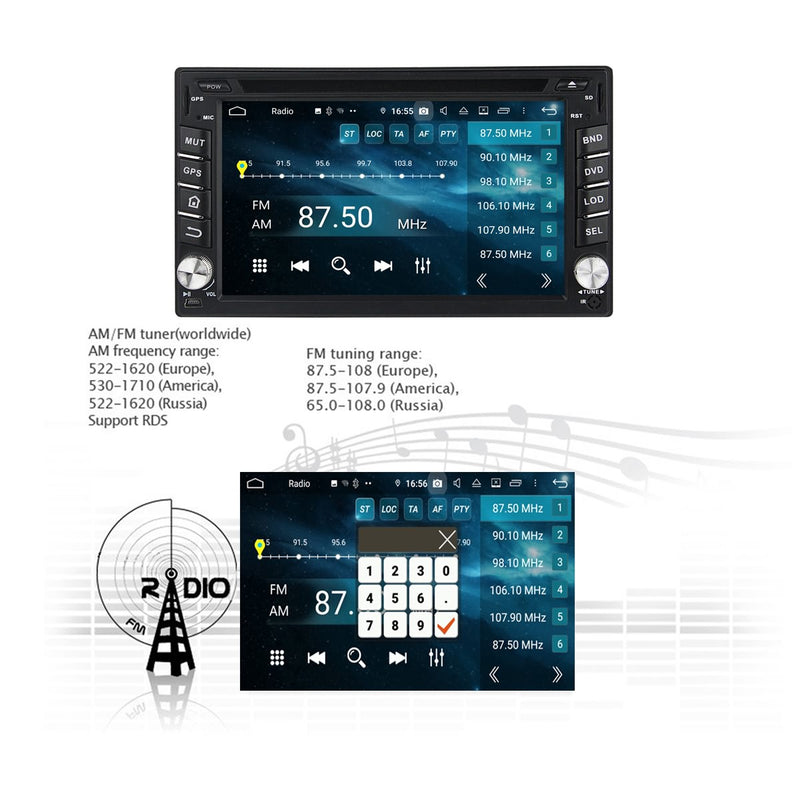 6.2 inch Android 9.0 Pie OS Universal Car GPS Navigation Head Unit, 8 Core 1.5G CPU 32G Flash 4G DDR3 RAM, 2 Din Touchscreen DVD Player Radio Bluetooth USB/SD 3G/4G WIFI - foyotech
