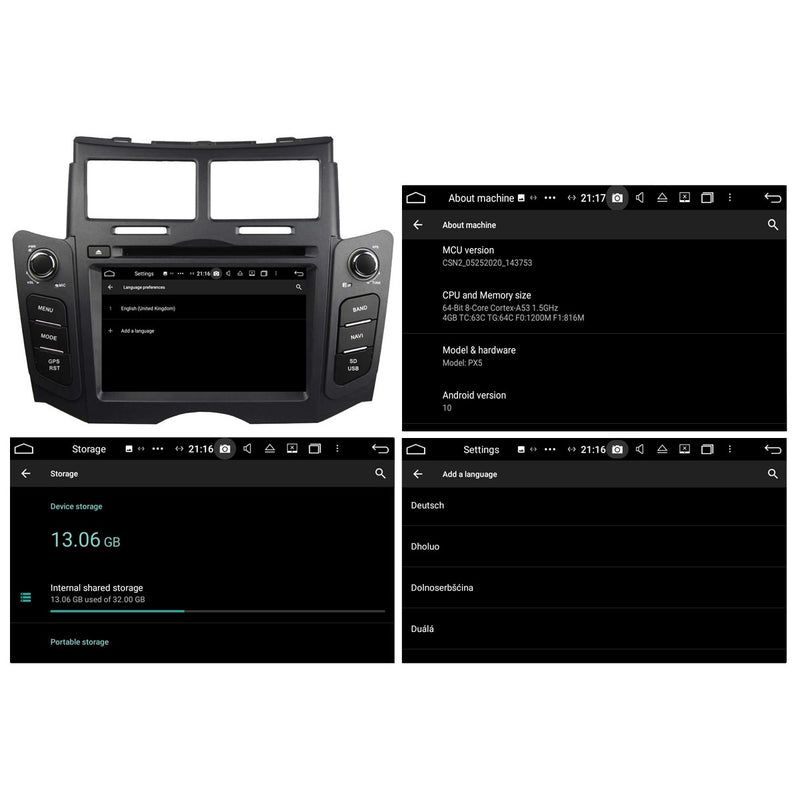 Black 6.2 inch Touchscreen Android 10 OS Autoradio Stereo for Toyota Yaris 2005 2006 2007 2008 2009 2010 2011, Octa Core 1.5G CPU 32G Flash 4G DDR3 RAM. 2 Din Car DVD Player GPS Navigation 3G 4G WIFI Bluetooth USB/SD DSP Carplay Steering Wheel Control OBD2. Plug and Play cable Double Din Vehicle Multimedia System Head Unit