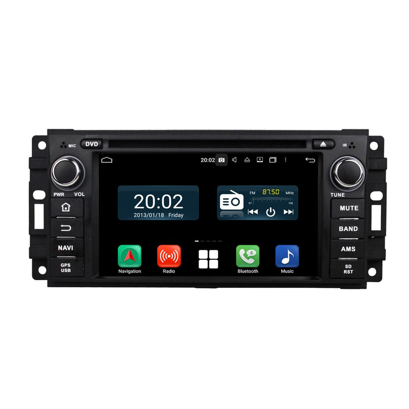 Android 10 OS 1 Din 6.2'' 800x480 Touch Screen Autoradio Headunit for Jeep Compass(2009-2011)/Wrangler(2007-2015), Octa Core 1.5G CPU 32G Flash 4G DDR3 RAM, Auto Radio GPS Navigation 3G 4G WIFI Bluetooth USB/SD DSP Carplay Steering Wheel Control. Plug and Play Single Din vehicle Multimedia Player System Head Unit.
