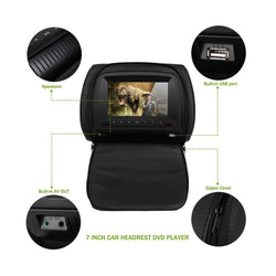 2x 7 inch Car Headrest DVD Player, USB/SD/Wireless Game, 800x480 Digital LCD screen Headrest Video Player Monitor - foyotech