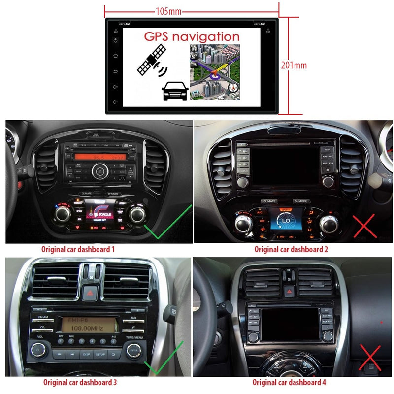 6.95 inch Touchscreen Android 9.0 OS Car Radio GPS Navigation Headunit for Nissan Tiida/Qashqai/Sunny/X-Trail/Paladin/Frontier/Murano/Livina, Octa Core 1.5G CPU 4G DDR3 RAM 32G Flash, Auto Stereo Bluetooth 4G WIFI OBD2 MirrorLink