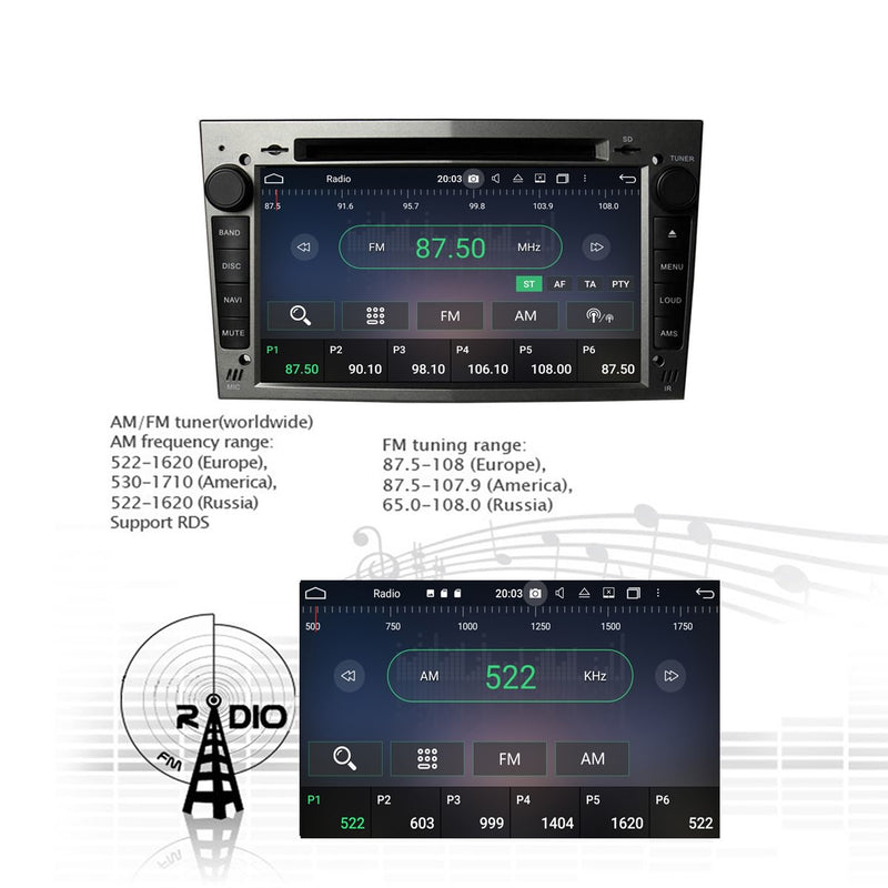 (Gray) 7'' Android 10 2 Din Autoradio Stereo Navigation Headunit for Opel Vauxhall Antara/Zafira/Corsa/Meriva/Astra H. Octa Core 1.5G CPU 32G Flash 4G DDR3 RAM. Auto Radio 3G 4G WIFI Bluetooth USB/SD DVD Player DSP Carplay Steering Wheel Control OBDII. Plug and Play Double Din Vehicle Multimedia Player System Head Unit