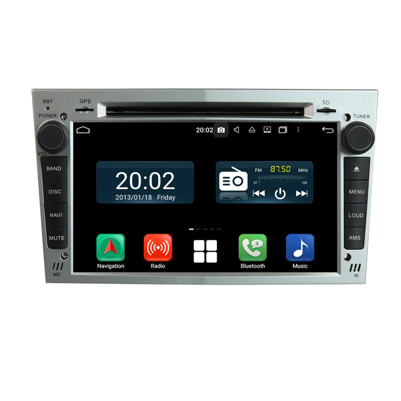 (Silver) 7'' Android 10 OS 2 Din Autoradio Stereo Navigation Headunit for Opel Vauxhall Antara/Zafira/Corsa/Meriva/Astra H. Octa Core 1.5G CPU 32G Flash 4G DDR3 RAM. Auto Radio 4G WIFI Bluetooth USB/SD DVD Player DSP Carplay Steering Wheel Control OBDII. Plug and Play Double Din Vehicle Multimedia Player System Head Unit