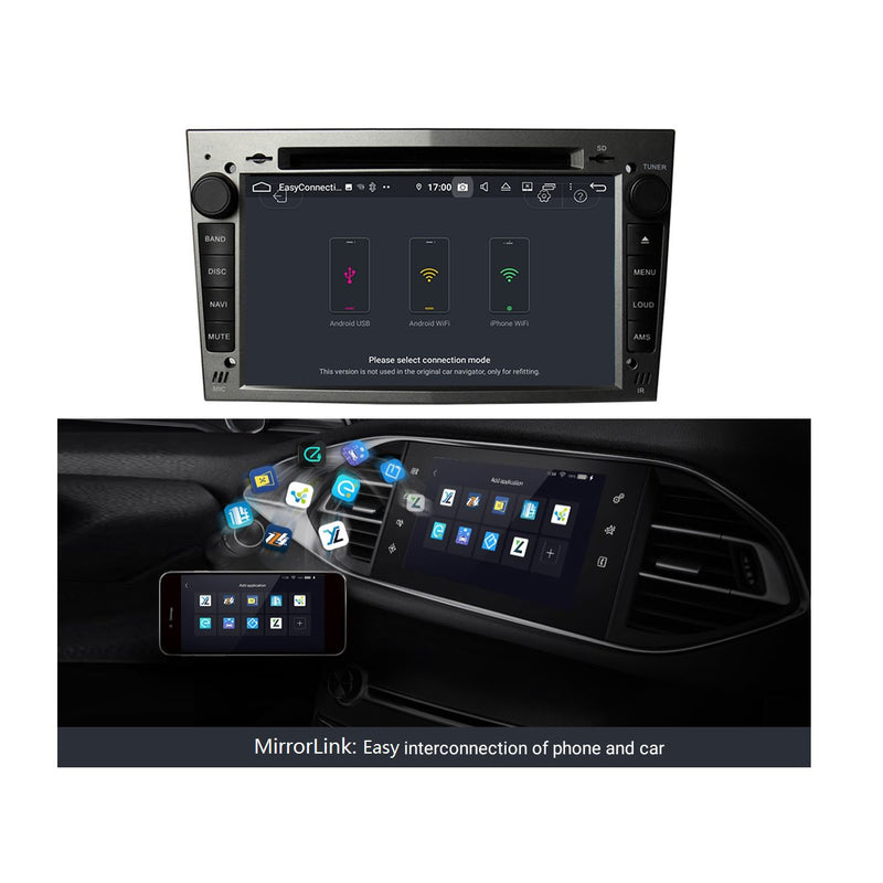 (Gray) Android 9.0 OS 7 inch Touchscreen Car DVD Player GPS for Opel Vauxhall Antara/Zafira/Corsa/Meriva/Astra H, 8 Core 1.5G CPU 4G DDR3 RAM 32G Flash, Auto Radio Stereo Bluetooth 4G WIFI OBD2 MirrorLink - foyotech