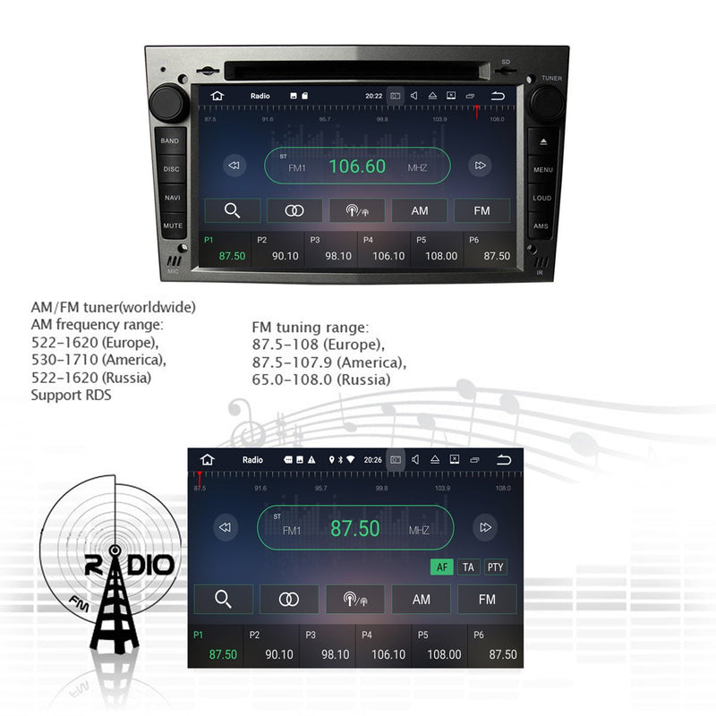 (Gray) 7 inch Touchscreen Android 7.1 OS Car DVD GPS Navigation for Opel Vauxhall Zafira/Corsa/Meriva/Astra H, 2GB DDR3 RAM 16GB Flash, Auto Radio Stereo Bluetooth 3G WIFI OBD2 MirrorLink - foyotech