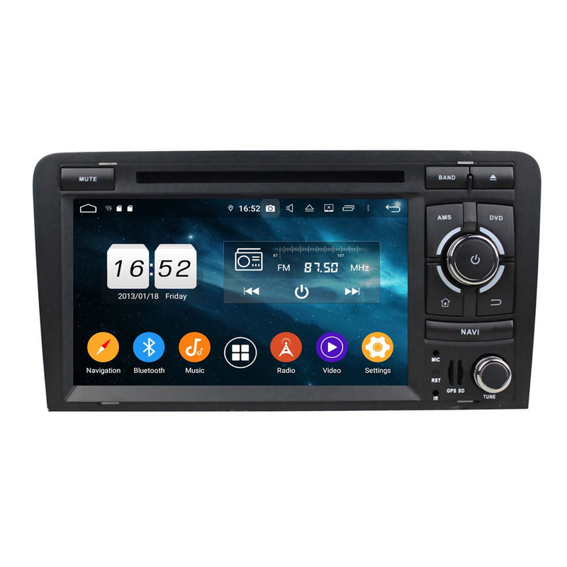 7 inch Touchscreen Android 9.0 OS Car DVD Player Head Unit for Audi A3/S3(2003-2013), 8 Core 1.5G CPU 4G DDR3 RAM 32G Flash, 2 Din Auto GPS Navigation Radio Bluetooth 4G WIFI - foyotech