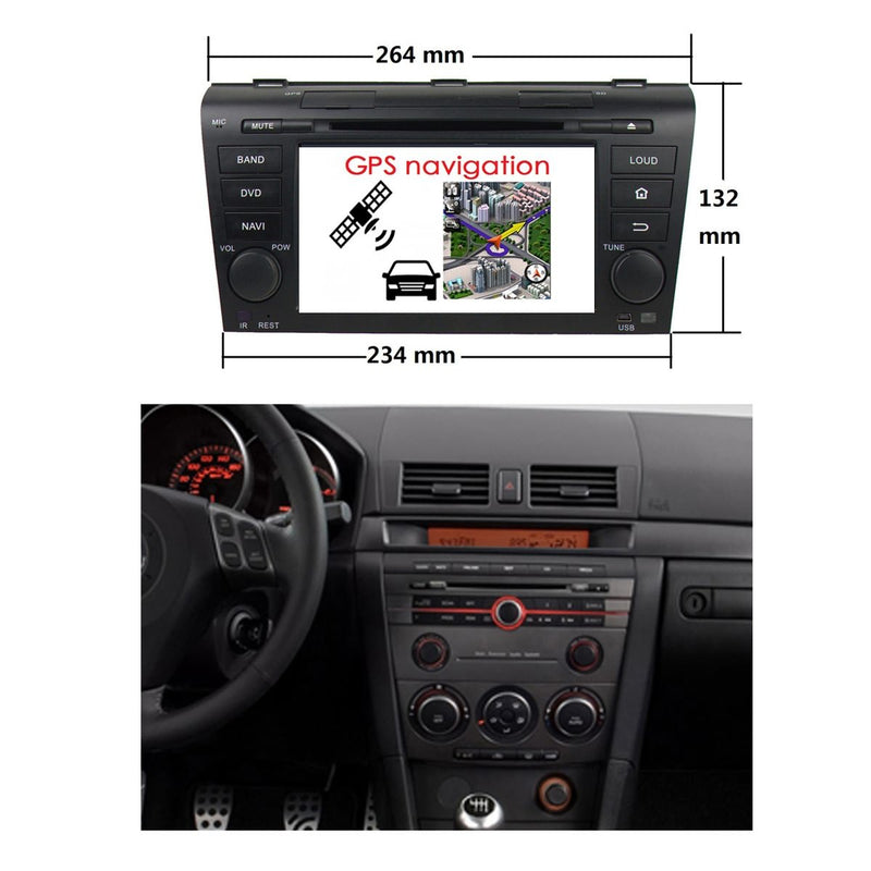 7 inch Android 9.0 OS Car Radio GPS Navigation Headunit for Mazda 3(2004-2009), Octa Core 1.5G CPU 4G DDR3 RAM 32G Flash, Touchscreen Auto DVD Player Stereo Bluetooth 4G WIFI OBD2 MirrorLink - foyotech