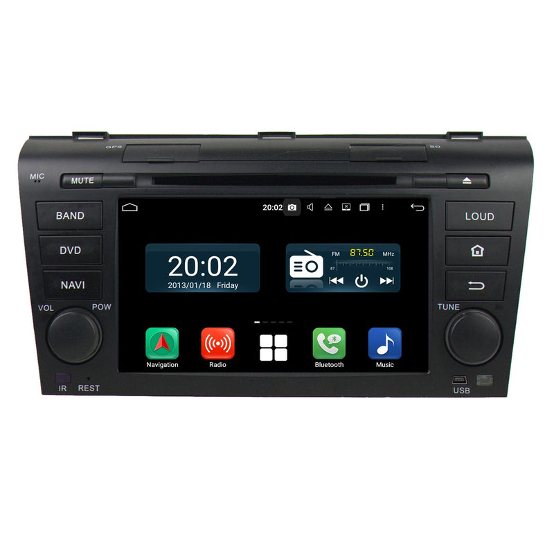 Touchscreen Android 10 Autoradio Stereo Navigation Headunit for Mazda 3 2004 2005 2006 2007 2008 2009. Octa Core 1.5G CPU 32G Flash 4G DDR3 RAM. 2 Din Radio DVD Player GPS 4G WIFI Bluetooth USB/SD DVD Player DSP Carplay Auto Steering Wheel Control OBDII. Plug and Play Double Din Vehicle Multimedia Player System Head Unit.