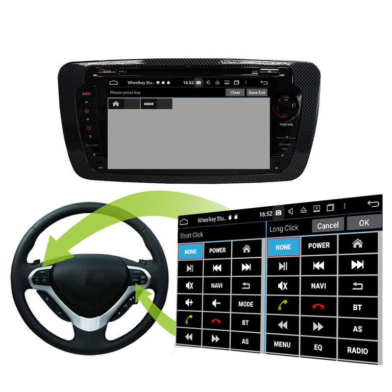 Android 10.0 OS 1024x600 Touch Screen Autoradio Navi Headunit for Seat Ibiza 2013 2014 2015 2016 2017. Octa Core 1.5G CPU 32G Flash 4G DDR3 RAM. Auto Radio DVD GPS Navigation 3G 4G WIFI Bluetooth USB/SD DSP Carplay Auto Steering Wheel Control. Double Din Vehicle Multimedia Player System Head Unit. Plug and Play cable!