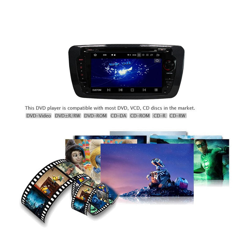 7 inch Touchscreen Android 9.0 OS Car DVD Player Radio for Seat Ibiza(2013-2017), Octa Core 1.5G CPU 4G DDR3 RAM 32G Flash, Auto GPS Navigation Bluetooth 4G WIFI Headunit - foyotech