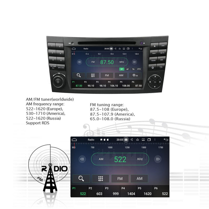 Android 10 OS 1024x600 Touch Screen Autoradio Headunit for Benz W211(2002-2008)/W219(2004-2008)/W463(2001-2008), Octa Core 1.5G CPU 32G Flash 4G DDR3 RAM, Auto Radio GPS Navigation 3G 4G WIFI Bluetooth USB/SD DSP Carplay Auto Steering Wheel Control. Double Din Vehicle Multimedia Player System Head Unit. Plug and Play!