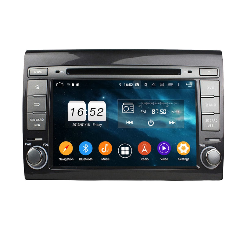7 inch Android 9.0 OS Car Stereo for Fiat Bravo(2007-2012), Octa Core 1.5G CPU 4G DDR3 RAM 32G Flash, 2 Din Auto Radio GPS Bluetooth 4G WIFI OBDII MirrorLink - foyotech