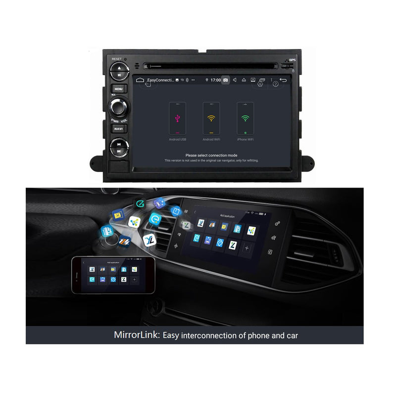 7 inch Car Radio Stereo Android 9.0 OS for Ford Fusion/Explorer/F150/Edge/Expedition, Octa Core 1.5G CPU 4G DDR3 RAM 32G Flash, Auto DVD Player GPS Navigation Bluetooth 4G WIFI OBD2 MirrorLink - foyotech