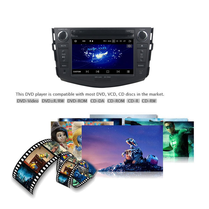 Android 9.0 OS 7 inch Touchscreen Car GPS Headunit for Toyota RAV4(2006-2012), Octa Core 1.5G CPU 4G DDR3 RAM 32G Flash, Auto Radio DVD Player Bluetooth 4G WIFI OBDII MirrorLink - foyotech