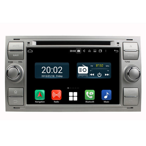 (Silver) Android 10 2 Din 7'' 1024x600 Touch Screen Autoradio Headunit for Ford Focus/Fiesta/Kuga/Mondeo/Smax/Cmax/Galaxy/Fusion, Octa Core 1.5G CPU 32G Flash 4G DDR3 RAM, Car Radio GPS Navigation 3G 4G WIFI Bluetooth USB/SD DSP Carplay Steering Wheel Control. Double Din Vehicle Multimedia Player System Head Unit.