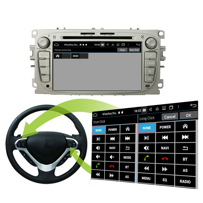 (Silver) 7'' Android 10 Autoradio Stereo Navigation Headunit for Ford Mondeo/Transit Connect/S-Max/Focus. Octa Core 1.5G CPU 32G Flash 4G DDR3 RAM. 2 Din Auto Radio GPS 3G 4G WIFI Bluetooth USB/SD DVD Player DSP Carplay Steering Wheel Control OBDII. Plug and Play Double Din Vehicle Multimedia Player System Head Unit.